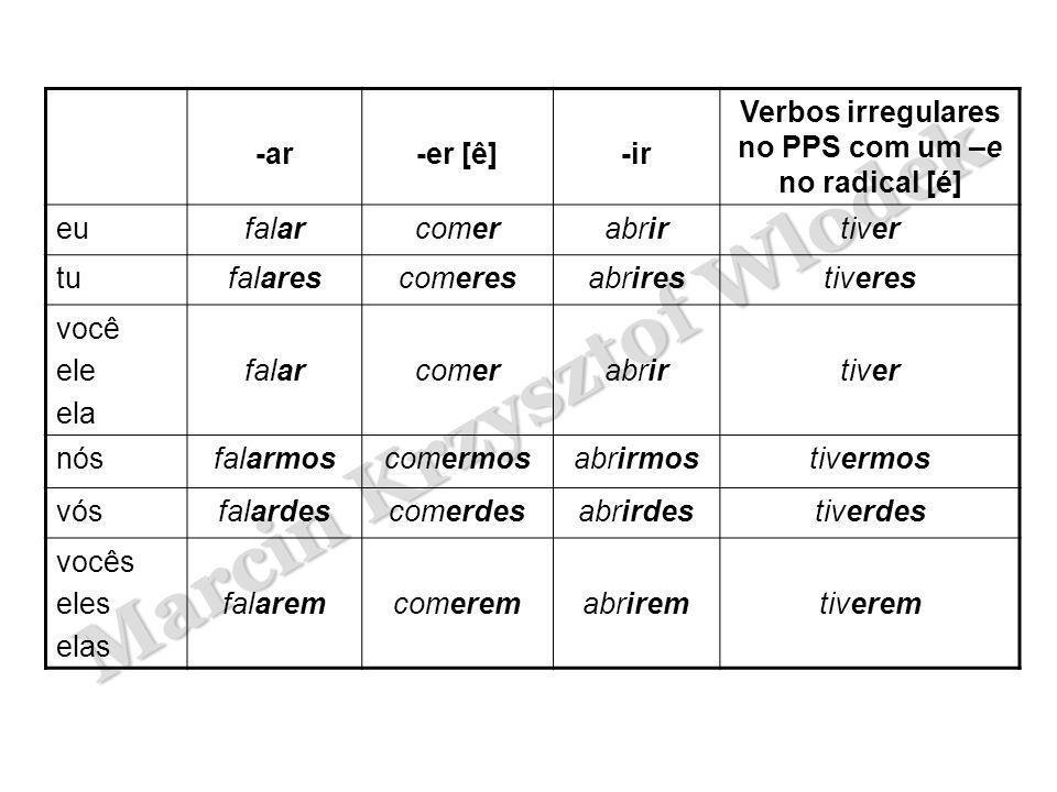 Verbos irregulares no PPS com um –e no radical [é]